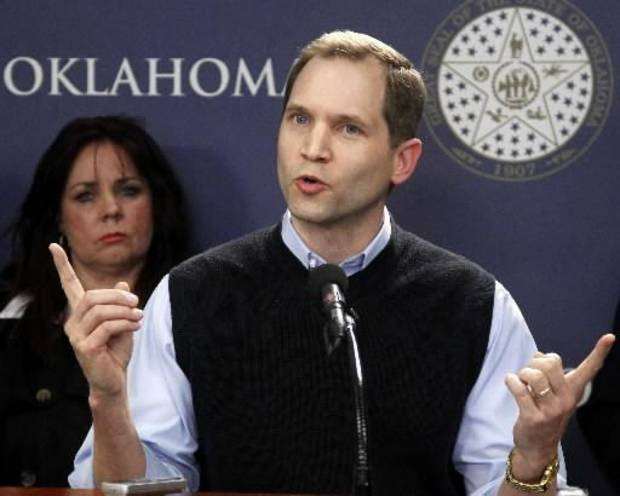 Dan Skerbitz, director of Personhood Oklahoma, gestures as he speaks at a news conference in Oklahoma City, Thursday, March 1, 2012. The group, that wants to ban abortions in Oklahoma, is launching a signature drive with the goal of amending the state Constitution to define a fertilized human egg as a human being. AP Photo