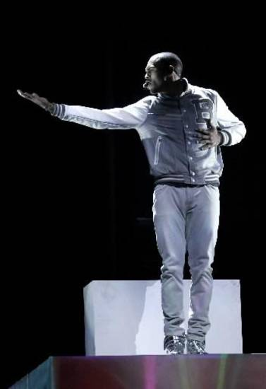 Chris Brown performs during the 2012 Grammy Awards. (AP Photo)