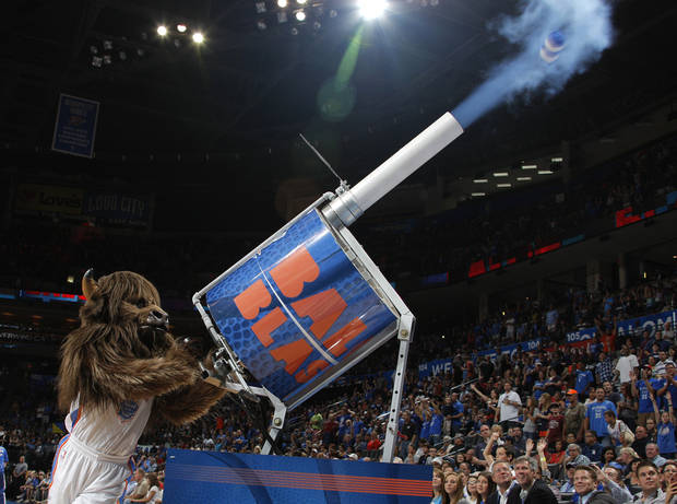 Rumble shoots T-shirts into the audience during the NBA preseason basketball game between the Oklahoma City Thunder and the Denver Nuggets at the Chesapeake Energy Arena, Sunday, Oct. 21, 2012. Photo by Garett Fisbeck, The Oklahoman