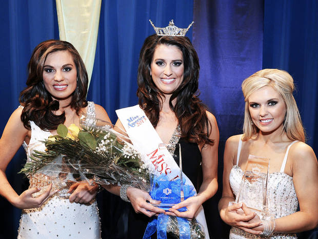 Allora Herrin, center, was crowned Miss University of Central Oklahoma 2013. First runner-up is Autumn Circle, left, and Ashleigh Hamil, second runner-up.  Photo provided by University of Central Oklahoma
