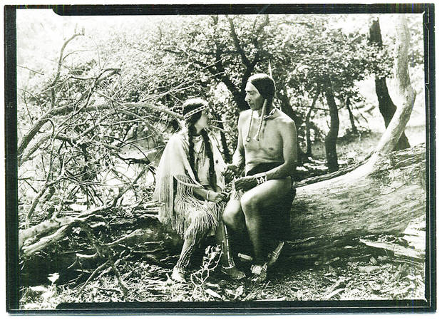 Esther LeBarre, left, is shown with White Parker in the 1920 silent movie  &quot;The Daughter of Dawn.&quot;