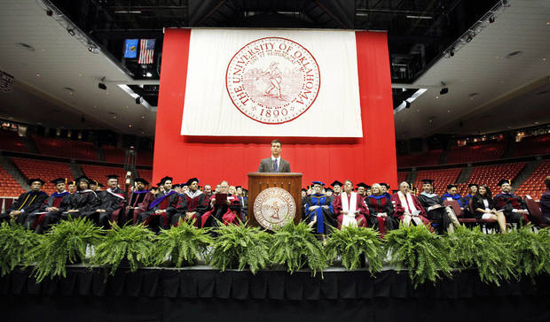 Joe Sangirardi, president of the OU Student Association, speaks Thursday during 2012 Convocation at the Lloyd Noble Center at the University of Oklahoma. Photos by Steve Sisney, The Oklahoman