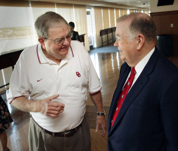 UNIVERSITY OF OKLAHOMA / OU / RETIRE: University of Oklahoma president David Boren (right) speaks with retiring radio announcer Bob Barry at the stadium club on Tuesday, August 31, 2010, in Norman, Okla.  Photo by Steve Sisney, The Oklahoman