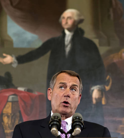 "Speaker of the House John Boehner, R-Ohio, talks about the elections and the unfinished business of Congress, at the Capitol in Washington, Wednesday, Nov. 7, 2012. The first post-election test of wills could start next week when Congress returns from its election recess to deal with unfinished business � including a looming ""fiscal cliff"" of $400 billion in higher taxes and $100 billion in automatic cuts in military and domestic spending to take effect in January if Congress doesn't head them off. Economists warn that the combination could plunge the nation back into a recession. (AP Photo/J. Scott Applewhite)"
