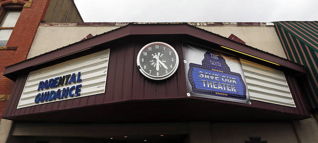 A view of the Time Theater in Stigler, Okla., Thursday, Feb. 7, 2013. The community is raising the $100,000 needed to convert the theater to digital projection and keep it open. Photo by Nate Billings, The Oklahoman