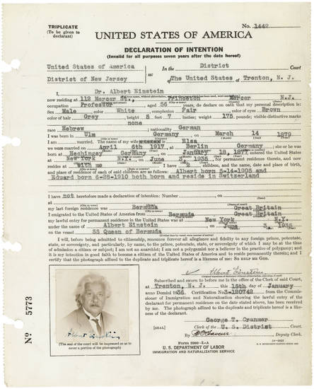 "In 1935 Albert Einstein filled out a ""Declaration of Intention"" for permanent residence in the United States permanently and his intention to become a citizen, another physical record kept by the National Archives and Records Administration. PHOTO PROVIDED. <strong></strong>"