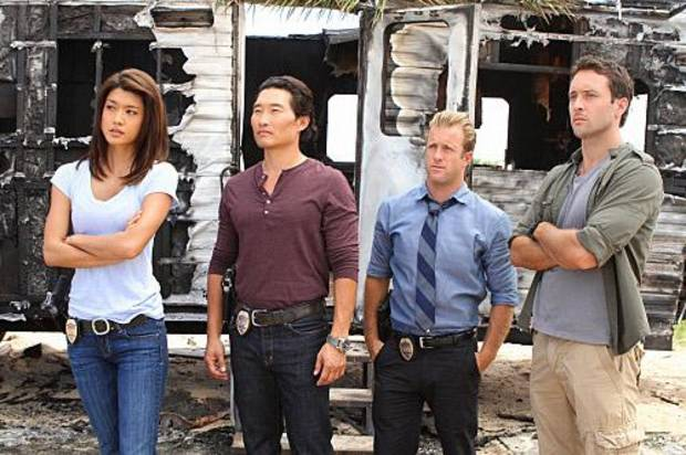 &quot;Ho' ohuli Na' au&quot;--Five-0 (left to right: Grace Park, Daniel Dae Kim, Scott Caan, Alex OLoughlin) focuses on several key suspects when world-renowned photographer Renny Sinclair is murdered while on assignment in Hawaii shooting the annual swimsuit edition of a top sports magazine, on HAWAII FIVE-0, Monday, May 2 (10:00-11:00 PM, ET/PT) on the CBS Television Network. 