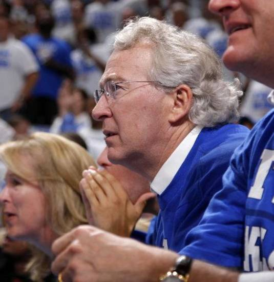 Chesapeake Energy Corp. Aubrey McClendon watches the Oklahoma City Thunder take on the Los Angeles Lakers on May 16 in an NBA Playoffs game at Chesapeake Energy Arena. <strong>Bryan Terry - The Oklahoman</strong>