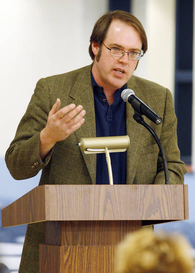 Chuck Thornton with the ACLU speaks during the Edmond Board of Education's Public Forum concerning the district's proposed new drug testing policy, at Edmond North High School in Edmond, Okla., February 9, 2009. BY NATE BILLINGS, THE OKLAHOMAN