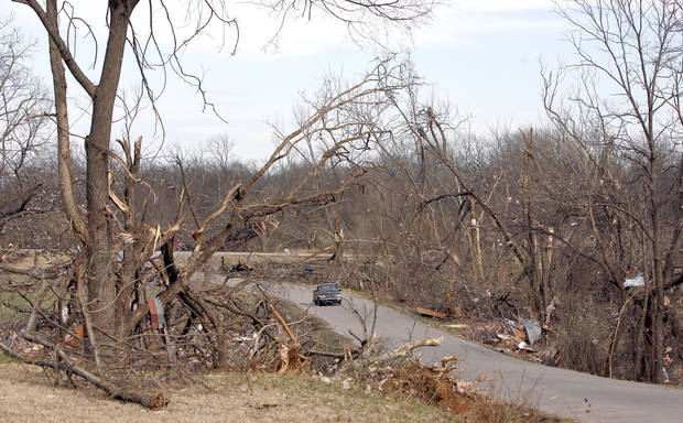 Tornado damage in the Majestic Hills neighborhood north of Ardmore, Thursday, Feb. 12, 2009, PHOTO BY SARAH PHIPPS, THE OKLAHOMAN