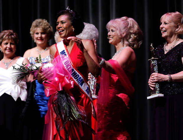 Zenetta Kendricks of Oklahoma City reacts after winning the Ms. Oklahoma Senior America Pageant. Photo by Bryan Terry, The Oklahoman