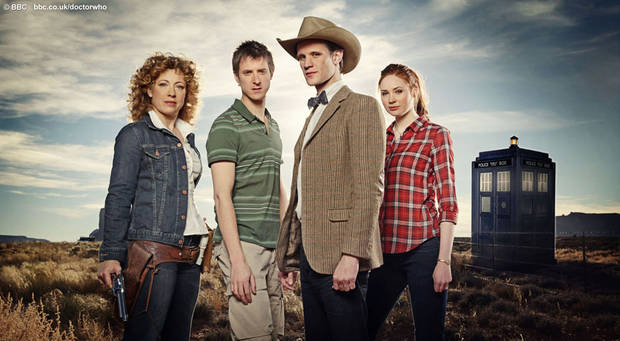"River Song (Alex Kingston), Rory (Arthur Darvill), The Doctor (Matt Smith), and Amy Pond (Karen Gillan) in the ""Doctor Who"" series 6 premiere."