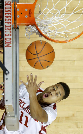Oklahoma's Isaiah Cousins (11) puts up a shot during an NCAA college basketball game between the University of Oklahoma and Texas Tech University at Lloyd Noble Center in Norman, Okla., Wednesday, Jan. 16, 2013. Photo by Bryan Terry, The Oklahoman
