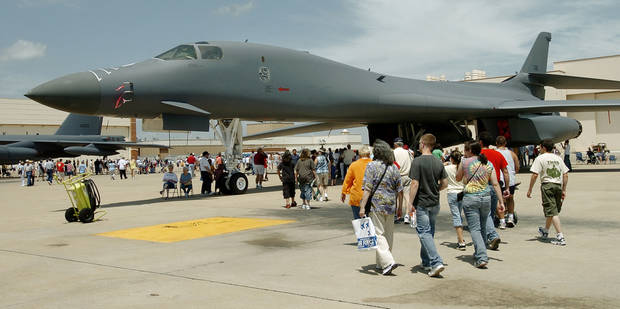 A B-1 bomber is on display at Tinker Air Force Base for Fourth of July activities. Some Boeing workers who have transferred to Tinker are working on the B-1 after work on the C-130 was put on hold earlier this year. THE OKLAHOMAN ARCHIVES