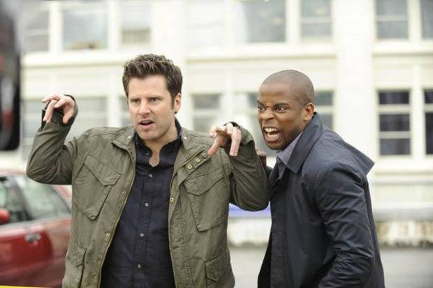 "PSYCH -- ""The Episode Sucks"" -- Pictured: (l-r) James Roday as Shawn Spencer, Dule Hill as Gus Guster -- Photo by: Alan Zenuk/USA Network"