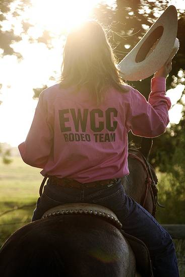Rhonda Buffalo, a member of the Eddie Warrior Correctional Center rodeo team rides into the sunset during a day of rodeo practice in Taft. Photo provided