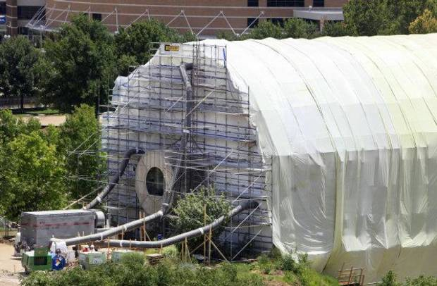 Construction is ongoing on the Crystal Bridge Tropical Conservatory and the rest of the Myriad Botanical Gardens in downtown Oklahoma City. <strong>PAUL B. SOUTHERLAND - The Oklahoman</strong>