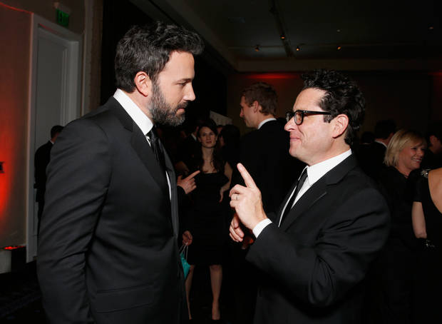 IMAGE DISTRIBUTED FOR THE PRODUCERS GUILD - Ben Affleck, left, and J.J. Abrams speak during the cocktail reception at the 24th Annual Producers Guild (PGA) Awards at the Beverly Hilton Hotel on Saturday Jan. 26, 2013, in Beverly Hills, Calif. (Photo by Todd Williamson/Invision for The Producers Guild/AP Images)