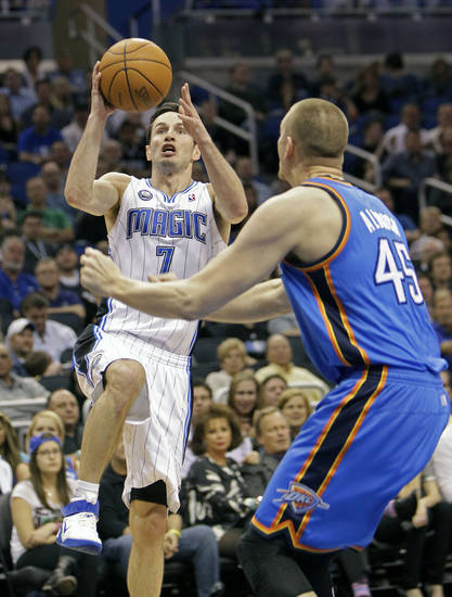 during the second half of an NBA basketball game in Orlando, Fla., Friday, Feb. 25, 2011. Orlando won 111-88. (AP Photo/John Raoux)