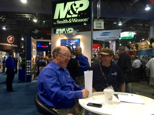 "Former Ardmore resident and outdoors personality Wade Middleton (right) talks with Gary Giudice of Norman on Smith and Wesson's webcast ""Inside the Chamber"" from the 2015 SHOT Show in Las Vegas."