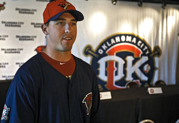 Oklahoma City Redhawks' Brian Bogusevic talks to the media during the Oklahoma City Redhawks media day at the Bricktown Ballpark on Tuesday, April 5, 2011, in Oklahoma City, Okla. Photo by Chris Landsberger, The Oklahoman