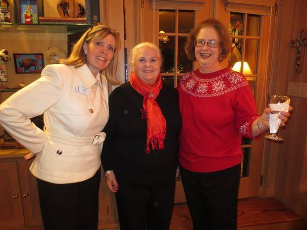 Junior League President Cristi Reiger, Peg Malloy and Ann Marshall celebrate the season. (Photo by Helen Ford Wallace).