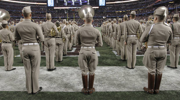 Members of the Texas A&amp;M band prepare to take the field during the college football Cotton Bowl game between the University of Oklahoma Sooners (OU) and Texas A&amp;M University Aggies (TXAM) at Cowboy&#039;s Stadium on Friday Jan. 4, 2013, in Arlington, Tx. Photo by Chris Landsberger, The Oklahoman