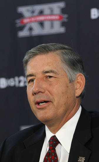 New Big 12 Conference Commissioner Bob Bowlsby speaks at the news conference introducing him to the media at Big 12 headquarters Friday, May 4, 2012, in Irving, Texas. (AP Photo/LM Otero)