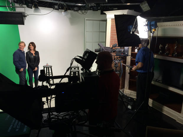 Bart and Nadia doing commercial work in the OPUBCO Studios on the green screen.