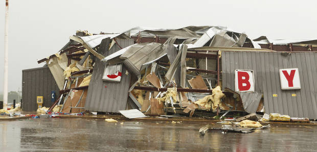 The Country Boy IGA grocery store was heavily damaged Monday east of Norman. Photo by Steve Sisney, The Oklahoman