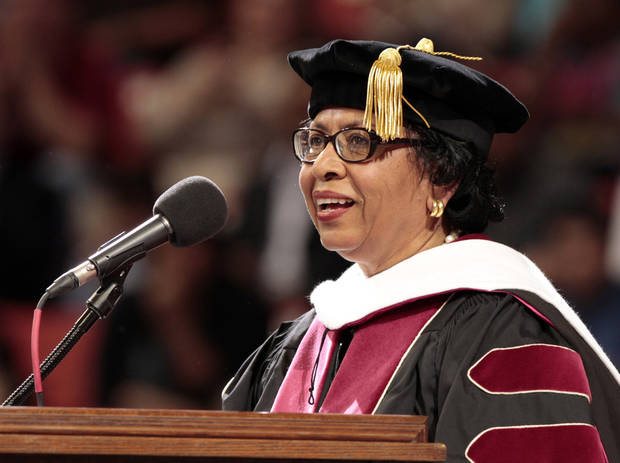 Brown University President Ruth Simmons gives the commencement address at the University of Oklahoma's spring commencement on Friday, May 11, 2012, in Norman, Okla.   Photo by Steve Sisney, The Oklahoman