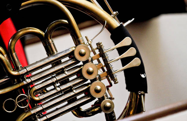The French horn of Kenji Scott Hood is seen during the Hood Family Recital at the University of Central Oklahoma Y Chapel of Song. Photo by Chris Landsberger, The Oklahoman <strong>CHRIS LANDSBERGER - CHRIS LANDSBERGER</strong>