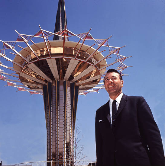 Oral Roberts, evangelist, in front of the Prayer Tower at Oral Roberts University in Tulsa in 1968.