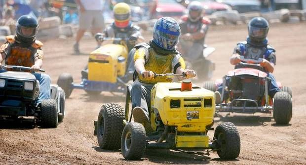 ndrew Barrow races during the El Reno Grascar Association lawn mower race in El Reno, Saturday, June 6, 2009. Photo by Bryan Terry, The Oklahoman