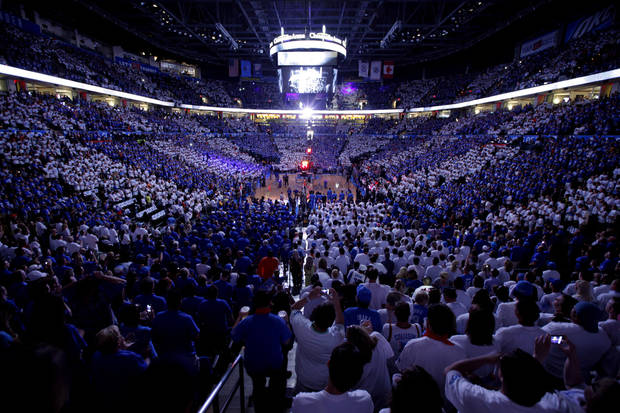 Fans pack the arena before Game 4 of the Western Conference Finals between the Oklahoma City Thunder and the San Antonio Spurs in the NBA playoffs at the Chesapeake Energy Arena in Oklahoma City, Saturday, June 2, 2012. Photo by Bryan Terry, The Oklahoman