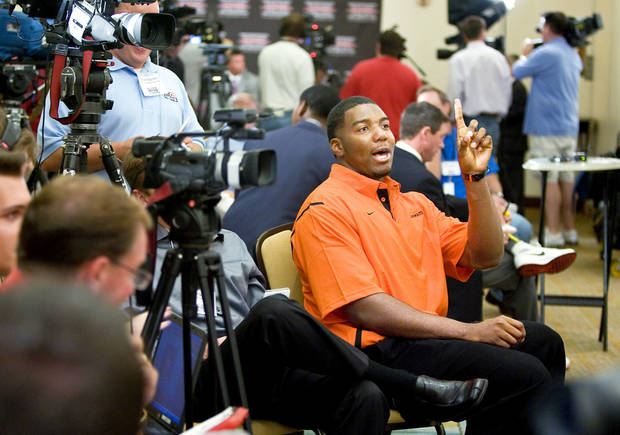 OSU offensive lineman Russell Okung is expected to be taken among the top 10 players in the next NFL Draft. Photo by Bryan Terry, The Oklahoman