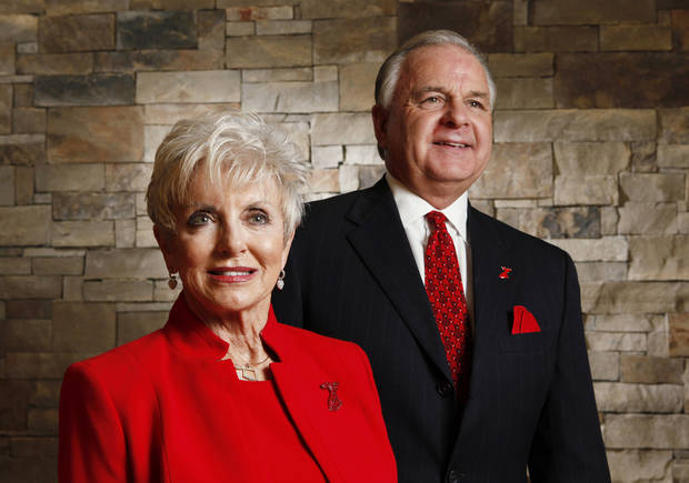 The American Heart Association's Go Red For Women day is Friday. Maj. Gen. Rita Aragon retired, an Edmond resident that is the chairwoman for central Oklahoma and Randy Stafford, also of Edmond, Friday, February 3, 2012.    Photo by David McDaniel, The Oklahoman