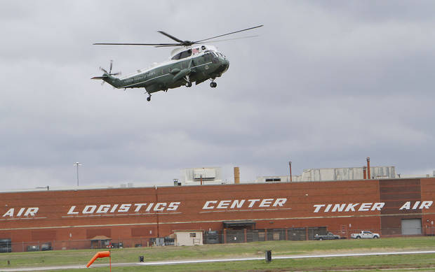 President Barack Obama arrives at Tinker Air Force Base on Marine One, Thursday,  March 22, 2012.  Photo By David McDaniel/The Oklahoman
