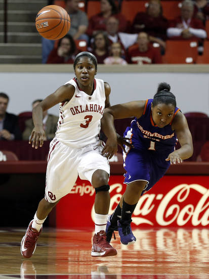 Oklahoma Sooners' Aaryn Ellenberg (3) steals the ball from Northwestern State Lady Demons' Keisha Lee (1) as the University of Oklahoma (OU) Sooner women's basketball team plays the Northwestern State Lady Demons at the Lloyd Noble Center on Thursday, Nov. 29, 2012  in Norman, Okla. Photo by Steve Sisney, The Oklahoman