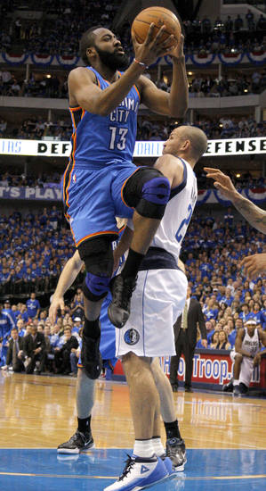 Oklahoma City's James Harden (13) goes past Jason Kidd (2) of Dallas during game 5 of the Western Conference Finals in the NBA basketball playoffs between the Dallas Mavericks and the Oklahoma City Thunder at American Airlines Center in Dallas, Wednesday, May 25, 2011. Photo by Bryan Terry, The Oklahoman