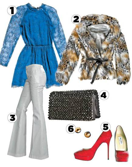 Tres Chic  1. Joy Cioci blue lace dress  2. Rachel Zoe winter white pants  3. Rachel Zoe faux cheetah jacket over Rachel Zoe sequined tunic 4. Prada jeweled clutch 5. Red wood-look Jimmy Choo platform pumps 6. Gold and steel stud earrings by Gurhan All items sold at Balliets. Photo by Chris Landsberger, The Oklahoman.   <strong></strong>