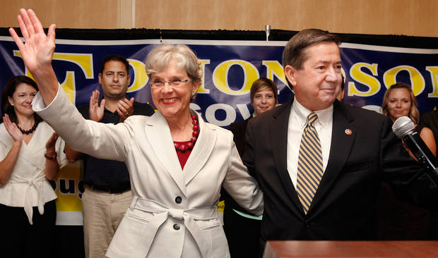 Drew Edmondson and wife, Linda, thanks supporters after his concession speech at gubernatorial primary election watch party for Drew Edmondson at the Sheraton Hotel in downtown Oklahoma City, Tuesday, July 27, 2010.  Photo by Jim Beckel, The Oklahoman