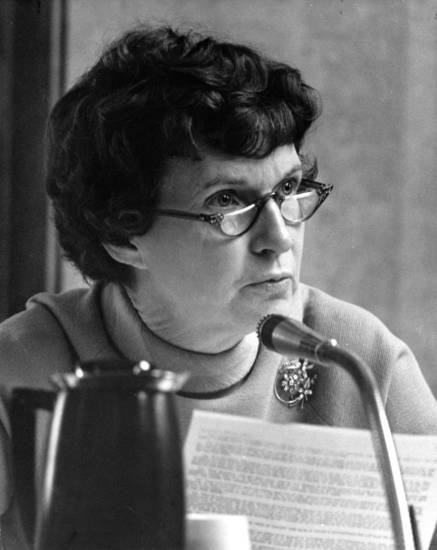 Portrait of Patience Latting conducting city business taken in the City Council chambers while she was still Ward 2 councilman.   Staff photo by Bob Albright taken 1/19/71; photo ran in the 8/16/73 Oklahoma City Times.