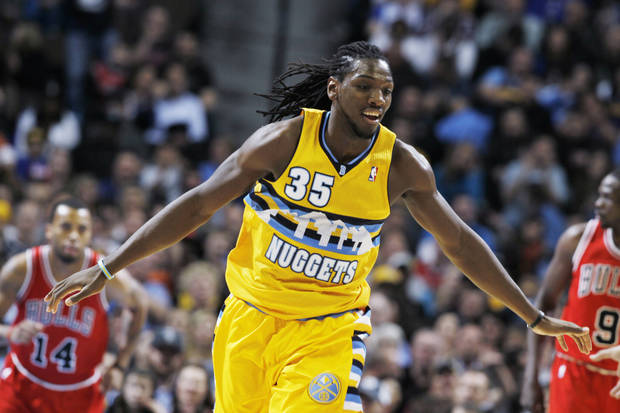 Denver Nuggets forward Kenneth Faried celebrates after scoring a basket against the Chicago Bulls in the second quarter of an NBA basketball game in Denver on Thursday, Feb. 7, 2013. (AP Photo/David Zalubowski)
