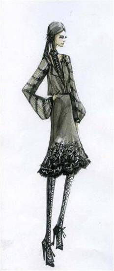 This sketch courtesy of Elie Tahari shows a design from the Elie Tahari fall 2011 collection. The design will be previewed during Fashion Week in New York.    (AP Photo/Elie Tahari)