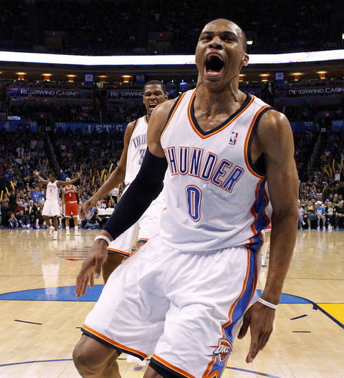 Oklahoma City's Russell Westbrook (0) and Oklahoma City's Kevin Durant (35) react during the NBA basketball game between the Oklahoma City Thunder and the Milwaukee Bucks at the Oklahoma City Arena, Wednesday, April 13, 2011. Photo by Bryan Terry, The Oklahoman