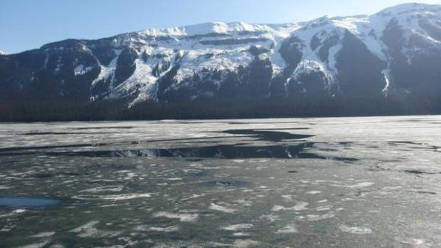 Ice is still visible on this lake.