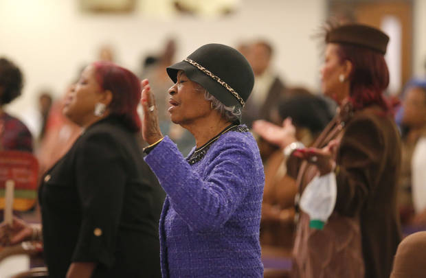 Erma Coburn prays at Fairview Baptist Church in Oklahoma City,Sunday, Jan. 27, 2013. Photo by Sarah Phipps, The Oklahoman