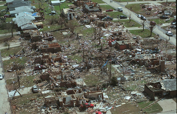 MAY 3, 1999 TORNADO: Tornado damage, aerial view: One of the damaged areas or NW Moore, near Westmoore School.