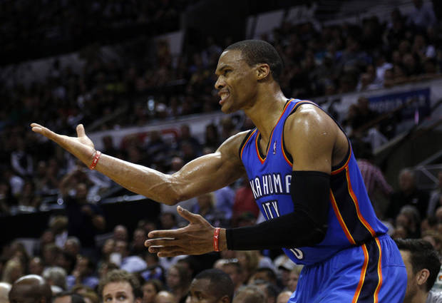 Oklahoma City's Russell Westbrook (0) talks to a teammate during Game 5 of the Western Conference Finals in the NBA playoffs between the Oklahoma City Thunder and the San Antonio Spurs at the AT&T Center in San Antonio, Thursday, May 29, 2014. Photo by Sarah Phipps, The Oklahoman